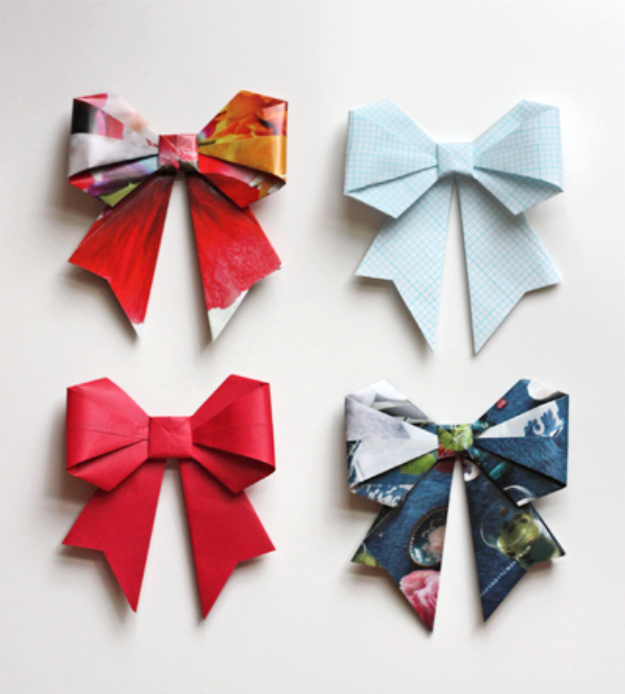 Cool Things to Make With Leftover Wrapping Paper - Origami Bows - Easy Crafts, Fun DIY Projects, Gifts and DIY Home Decor Ideas - Don't Trash The Christmas Wrapping Paper and Learn How To Make These Awesome Ideas Instead - Step by Step Tutorials With Instructions