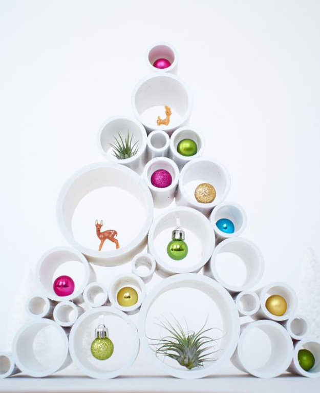 Best DIY Ideas for Your Christmas Tree - PVC Pipe Small Scale Christmas Tree - Cool Handmade Ornaments, DIY Decorating Ideas and Ornament Tutorials - Creative Ways To Decorate Trees on A Budget - Cheap Rustic Decor, Easy Step by Step Tutorials - Holiday Crafts for Kids and Gifts To Make For Friends and Family http://diyjoy.com/diy-ideas-christmas-tree