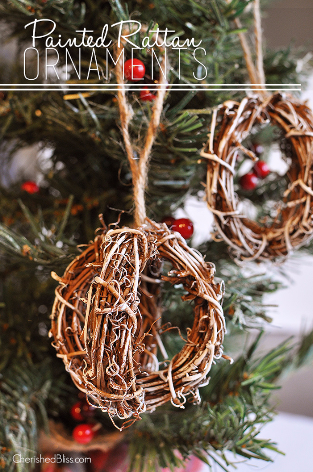 Best DIY Ornaments for Your Tree - Best DIY Ornament Ideas for Your Christmas Tree - Painted Rattan Ornaments - Cool Handmade Ornaments, DIY Decorating Ideas and Ornament Tutorials - Creative Ways To Decorate Trees on A Budget - Cheap Rustic Decor, Easy Step by Step Tutorials - Holiday Crafts for Kids and Gifts To Make For Friends and Family