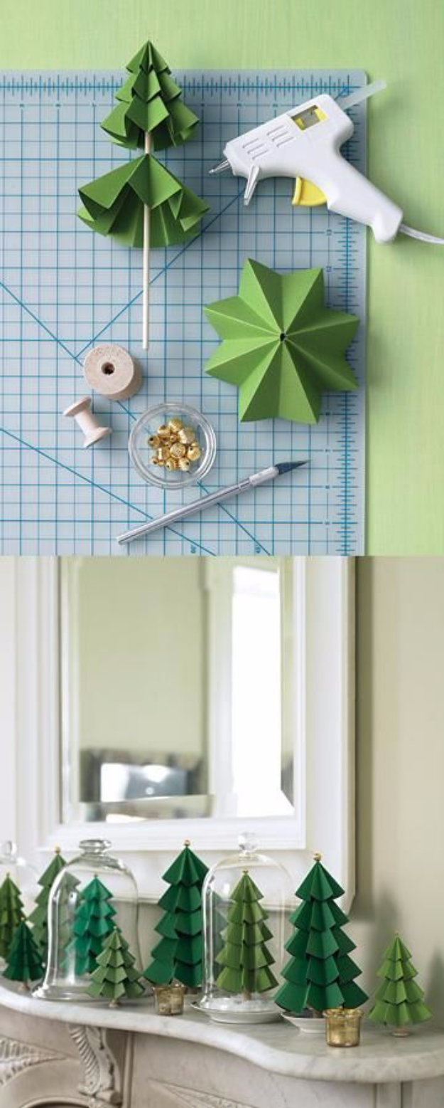 Best DIY Ideas for Your Christmas Tree - Paper Evergreens - Cool Handmade Ornaments, DIY Decorating Ideas and Ornament Tutorials - Cheap Christmas Home Decor - Xmas Crafts #christmas #diy #crafts