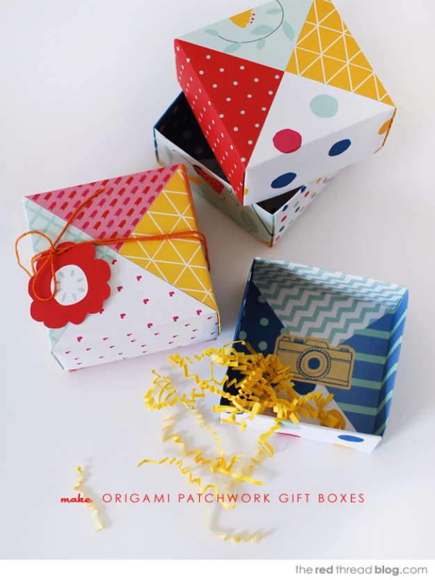 Cool Things to Make With Leftover Wrapping Paper - Patchwork Paper Origami Gift Boxes - Easy Crafts, Fun DIY Projects, Gifts and DIY Home Decor Ideas - Don't Trash The Christmas Wrapping Paper and Learn How To Make These Awesome Ideas Instead - Step by Step Tutorials With Instructions http://diyjoy.com/diy-projects-leftover-wrapping-paper