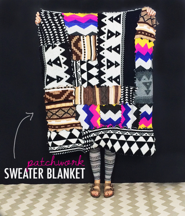 DIY Blankets and Throws - Patchwork Sweater Blanket - How To Make Easy Home Decor and Warm Covers for Women, Kids, Teens and Adults - Fleece, Knit, No Sew and Easy Projects to Make for Bed and Sofa - Creative Blanket Sewing Projects and Crafts http://diyjoy.com/diy-blankets-throws