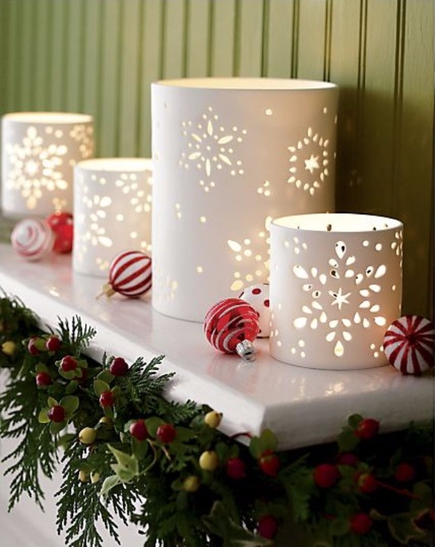 Easy DIY Christmas Luminaries - Rustic Home Decor To Make for The Holidays - Photo Paper Snowflake Luminaries - Cool Candle Holders, Tea Lights, Holiday Gift Ideas, Christmas Crafts for Kids #diy #luminaries #christmas