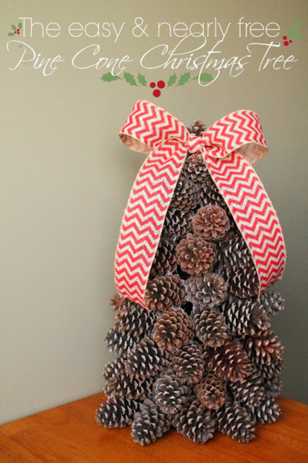 Creative DIY Ideas for Your Christmas Tree - Pine Cone Christmas Tree - Cool Handmade Ornaments, DIY Decorating Ideas and Ornament Tutorials - Cheap Christmas Home Decor - Xmas Crafts #christmas #diy #crafts