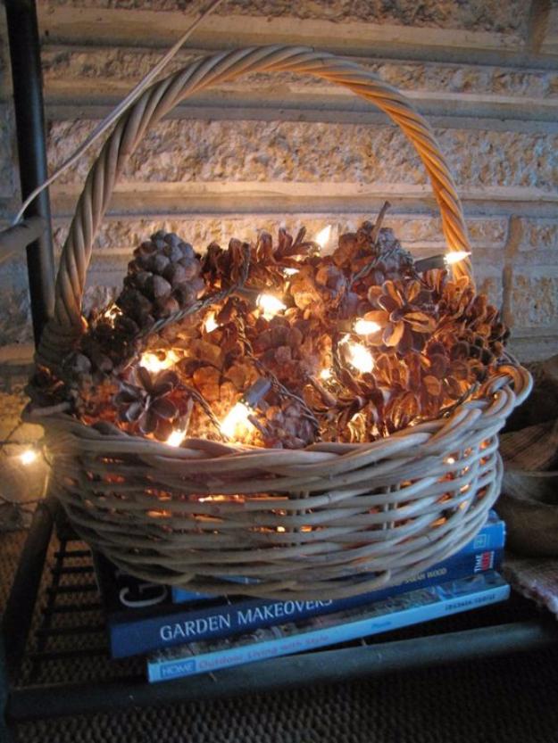 Rustic DIY Decor Ideas With Christmas Lights - Pinecones With Christmas Lights - Best Easy DIY Ideas for String Lights for Room Decoration, Home Decor and Creative DIY Bedroom Lighting #diy #christmas #homedecor