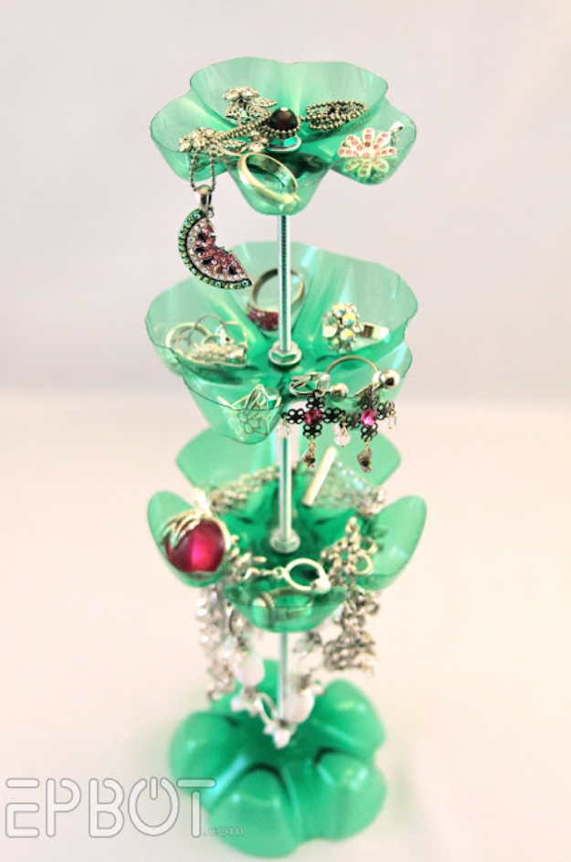 Cool DIY Projects Made With Plastic Bottles - Plastic Bottle Jewelry Stand - Best Easy Crafts and DIY Ideas Made With A Recycled Plastic Bottle - Jewlery, Home Decor, Planters, Craft Project Tutorials - Cheap Ways to Decorate and Creative DIY Gifts for Christmas Holidays - Fun Projects for Adults, Teens and Kids http://diyjoy.com/diy-projects-plastic-bottles