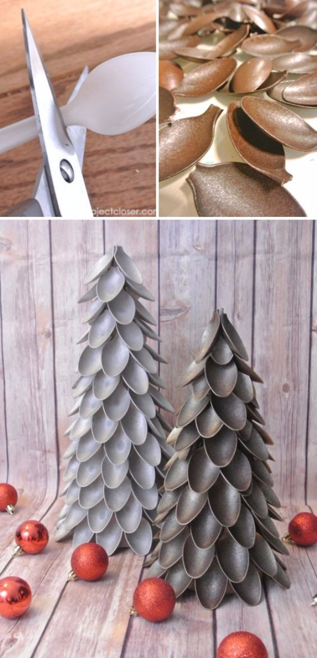 Best DIY Ideas for Your Christmas Tree - Plastic Spoon Christmas Tree - Cool Handmade Ornaments, DIY Decorating Ideas and Ornament Tutorials - Creative Ways To Decorate Trees on A Budget - Cheap Rustic Decor, Easy Step by Step Tutorials - Holiday Crafts for Kids and Gifts To Make For Friends and Family http://diyjoy.com/diy-ideas-christmas-tree
