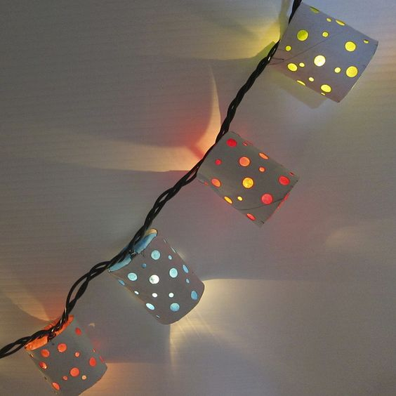 Cool Ways To Use Christmas Lights - Polka Dot Paper Lanterns - Best Easy DIY Ideas for String Lights for Room Decoration, Home Decor and Creative DIY Bedroom Lighting #diy #christmas #homedecor