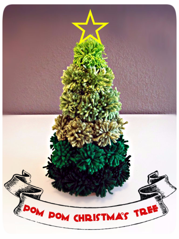 Best DIY Ideas for Your Christmas Tree - Pom Pom Christmas Tree - Cool Handmade Ornaments, DIY Decorating Ideas and Ornament Tutorials - Cheap Christmas Home Decor - Xmas Crafts #christmas #diy #crafts