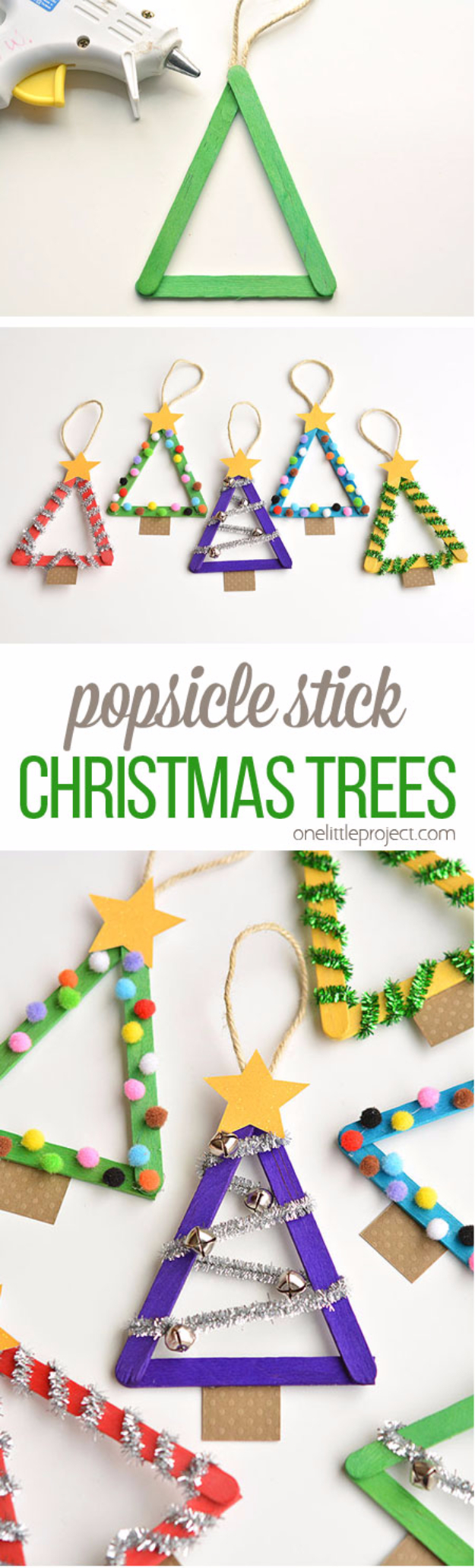 Christmas Crafts for Kids to Make Christmas Tree - Popsicle Stick Christmas Trees - Cool Handmade Ornaments, DIY Decorating Ideas and Ornament Tutorials - Cheap Christmas Home Decor - Xmas Crafts #christmas #diy #crafts