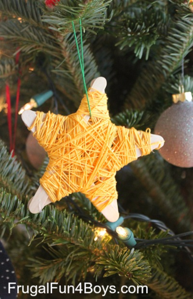 Best DIY Ornaments for Your Tree - Best DIY Ornament Ideas for Your Christmas Tree - Popsicle Stick Star Christmas Ornaments - Cool Handmade Ornaments, DIY Decorating Ideas and Ornament Tutorials - Creative Ways To Decorate Trees on A Budget - Cheap Rustic Decor, Easy Step by Step Tutorials - Holiday Crafts for Kids and Gifts To Make For Friends and Family http://diyjoy.com/diy-ideas-christmas-tree