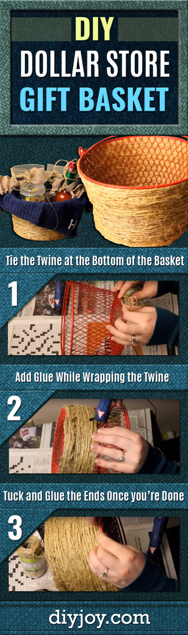 Creative Crafts Made With Baskets - Pottery Barn Inspired Dollar Store Gift Basket - DIY Storage and Organizing Ideas, Gift Basket Ideas, Best DIY Christmas Presents and Holiday Gifts, Room and Home Decor with Step by Step Tutorials - Easy DIY Ideas and Dollar Store Crafts #crafts #diy