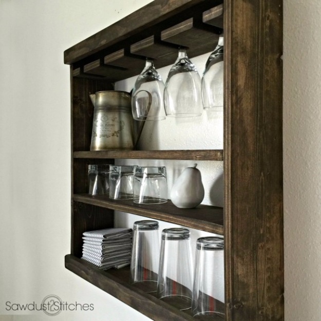 DIY Farmhouse Style Decor Ideas for the Kitchen - Pottery Barn Inspired Glass Rack - Rustic Farm House Ideas for Furniture, Paint Colors, Farm House Decoration for Home Decor in The Kitchen - Wall Art, Rugs, Countertops, Lights and Kitchen Accessories #farmhouse #diydecor