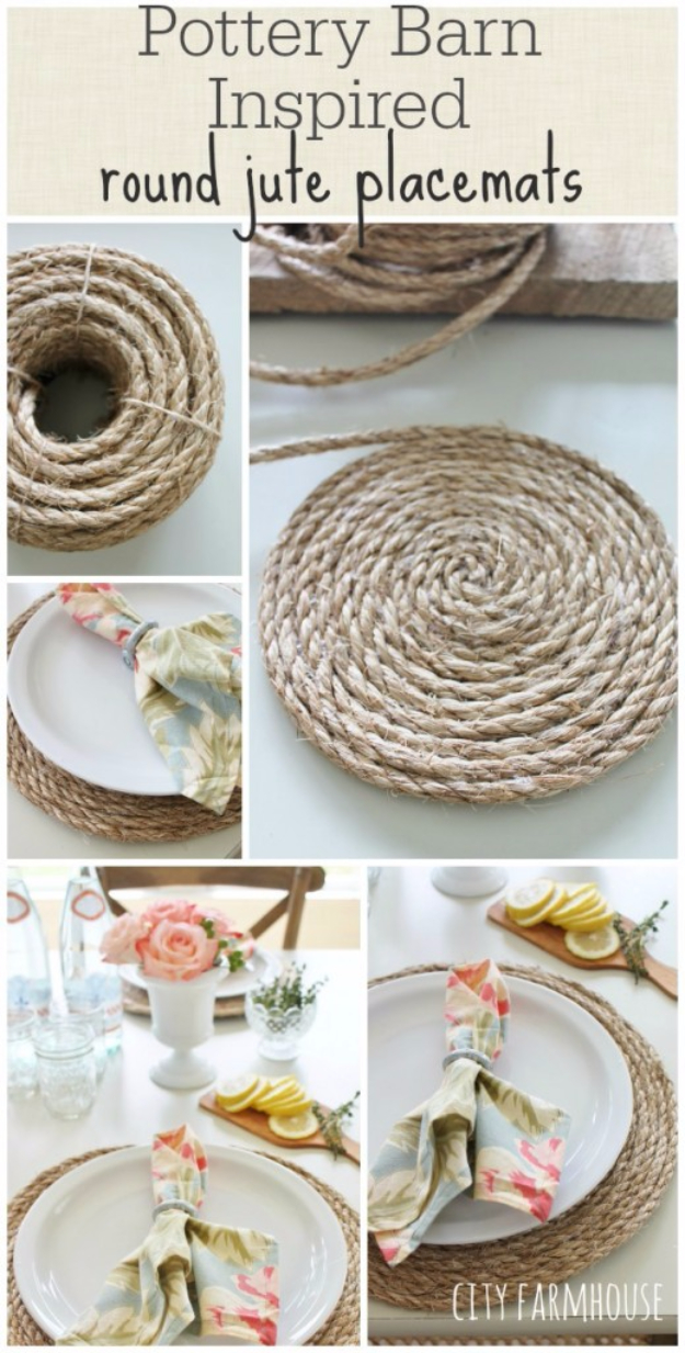 DIY Farmhouse Style Decor Ideas for the Kitchen - Pottery Barn Inspired Round Jute Placemats - Rustic Farm House Ideas for Furniture, Paint Colors, Farm House Decoration for Home Decor in The Kitchen - Wall Art, Rugs, Countertops, Lights and Kitchen Accessories #farmhouse #diydecor