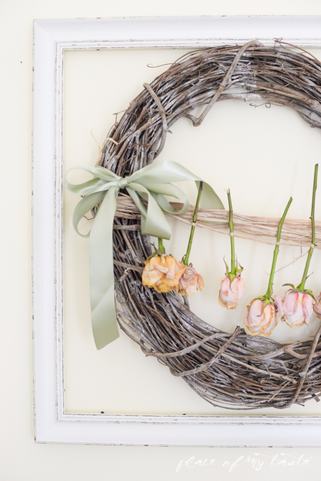 DIY Farmhouse Style Decor Ideas for the Kitchen - Pretty Dried Roses Wreath - Rustic Farm House Ideas for Furniture, Paint Colors, Farm House Decoration for Home Decor in The Kitchen - Wall Art, Rugs, Countertops, Lights and Kitchen Accessories #farmhouse #diydecor