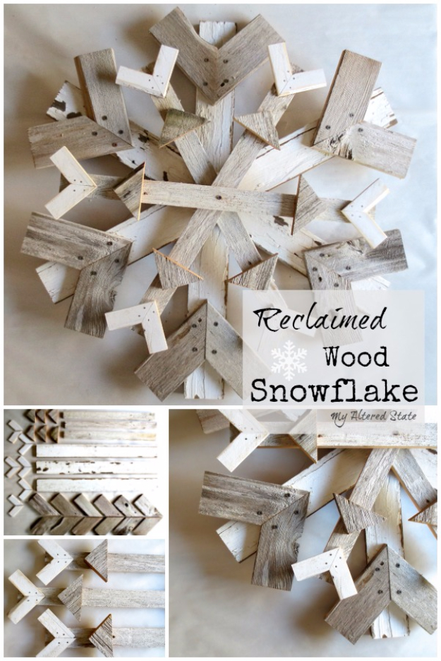 Best DIY Snowflake Decorations, Ornaments and Crafts - Reclaimed Wood Snowflake - Paper Crafts with Snowflakes, Pipe Cleaner Projects, Mason Jars and Dollar Store Ideas - Easy DIY Ideas to Decorate for Winter#winter #crafts #diy