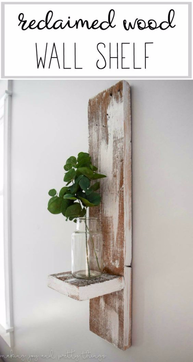 DIY Farmhouse Style Decor Ideas for the Bedroom - Reclaimed Wood Wall Shelf - Rustic Farm House Ideas for Furniture, Paint Colors, Farm House Decoration for Home Decor in The Bedroom - Wall Art, Rugs, Nightstands, Lights and Room Accessories http://diyjoy.com/diy-farmhouse-decor-bedroom