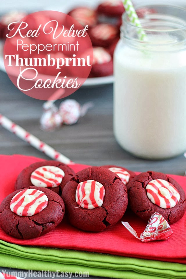Best Recipes for Christmas Cookies- Red Velvet Peppermint Thumbprint Cookies - Easy Decorated Holiday Cookies - Candy Cookie Recipes Ideas for Kids - Traditional Favorites and Gluten Free and Healthy Versions - Quick No Bake Cookies and Last Minute Desserts for the Holidays