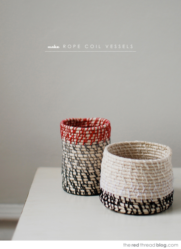Creative Crafts Made With Baskets - Rope Coil Vessels - DIY Storage and Organizing Ideas, Gift Basket Ideas, Best DIY Christmas Presents and Holiday Gifts, Room and Home Decor with Step by Step Tutorials - Easy DIY Ideas and Dollar Store Crafts #crafts #diy