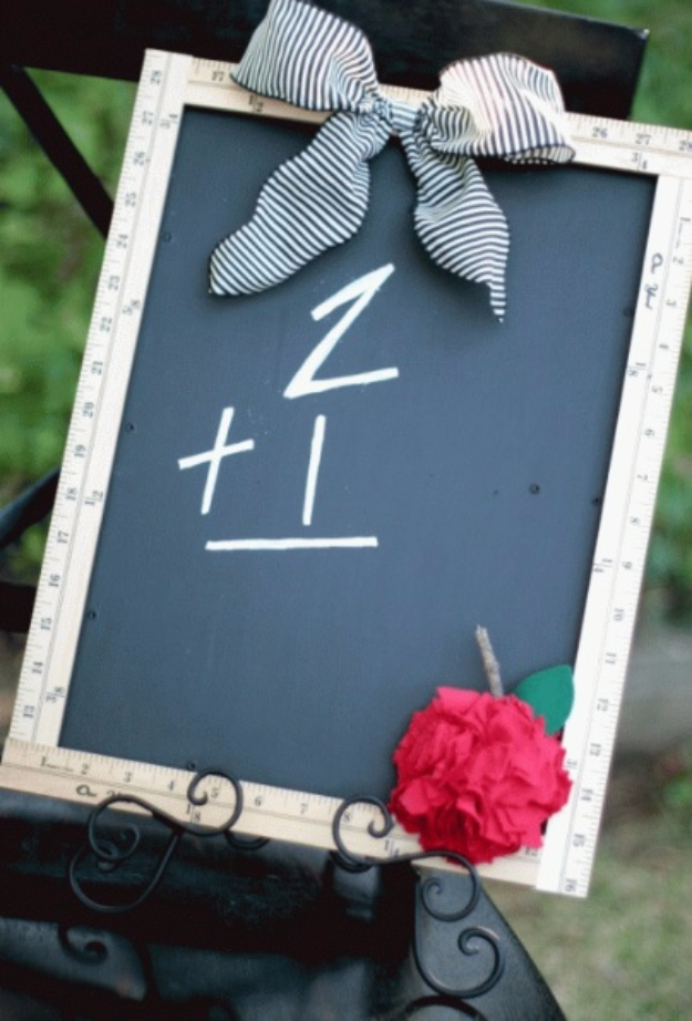 DIY Teacher Gifts - Ruler Chalkboard With Fabric Apple - Cheap and Easy Presents and DIY Gift Ideas for Teachers at Christmas, End of Year, First Day and Birthday - Teacher Appreciation Gifts and Crafts - Cute Mason Jar Ideas and Thoughtful, Unique Gifts from Kids #diygifts #teachersgifts #diyideas #cheapgifts