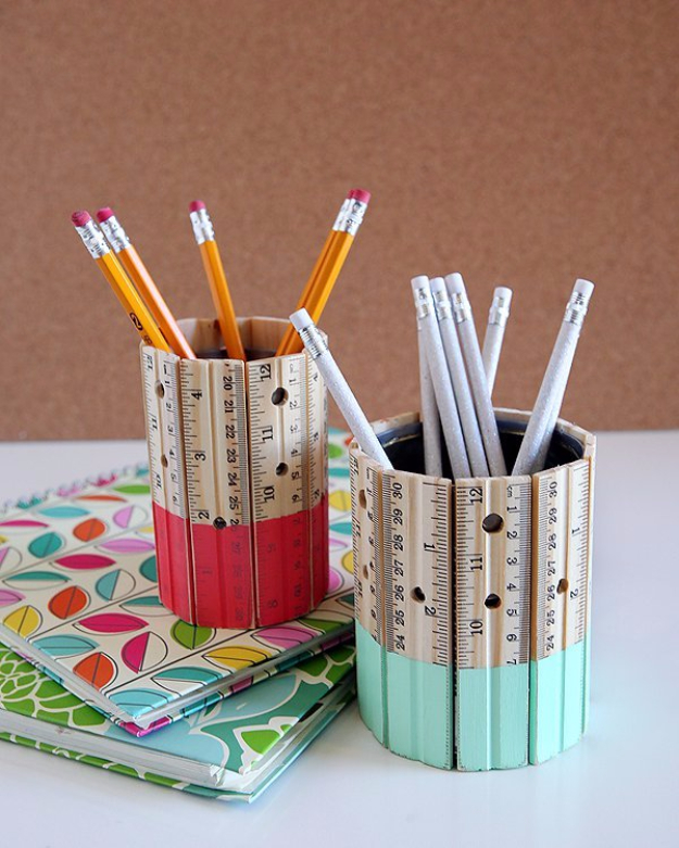 DIY Teacher Gifts - Ruler Pencil Holder - Cheap and Easy Presents and DIY Gift Ideas for Teachers at Christmas, End of Year, First Day and Birthday - Teacher Appreciation Gifts and Crafts - Cute Mason Jar Ideas and Thoughtful, Unique Gifts from Kids http://diyjoy.com/diy-teacher-gifts