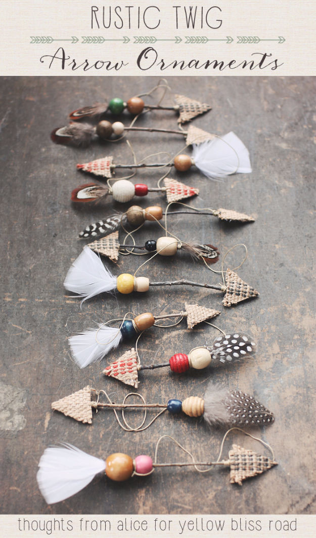 Best DIY Ornaments for Your Tree - Best DIY Ornament Ideas for Your Christmas Tree - Rustic Twig Arrow Ornaments - Cool Handmade Ornaments, DIY Decorating Ideas and Ornament Tutorials - Creative Ways To Decorate Trees on A Budget - Cheap Rustic Decor, Easy Step by Step Tutorials - Holiday Crafts for Kids and Gifts To Make For Friends and Family http://diyjoy.com/diy-ideas-christmas-tree