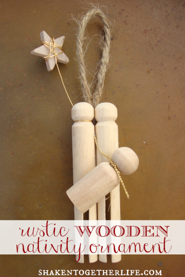 Best DIY Ornaments for Your Tree - Best DIY Ornament Ideas for Your Christmas Tree - Rustic Wooden Nativity Ornament - Cool Handmade Ornaments, DIY Decorating Ideas and Ornament Tutorials - Creative Ways To Decorate Trees on A Budget - Cheap Rustic Decor, Easy Step by Step Tutorials - Holiday Crafts for Kids and Gifts To Make For Friends and Family
