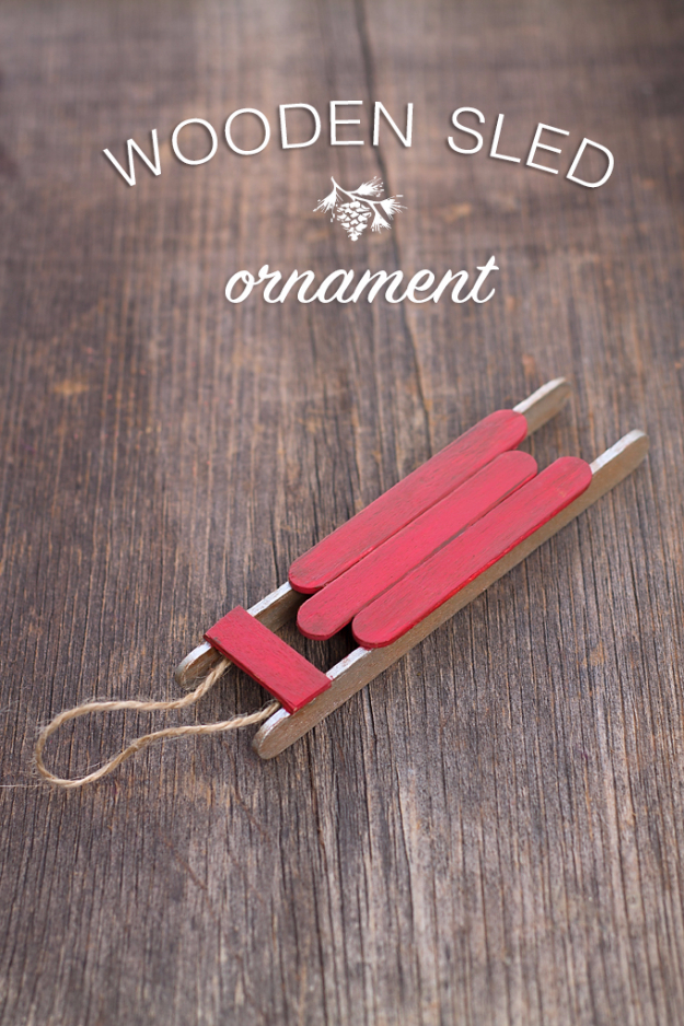 Best DIY Ornaments for Your Tree - Best DIY Ornament Ideas for Your Christmas Tree - Rustic Wooden Sled Ornament - Cool Handmade Ornaments, DIY Decorating Ideas and Ornament Tutorials - Creative Ways To Decorate Trees on A Budget - Cheap Rustic Decor, Easy Step by Step Tutorials - Holiday Crafts for Kids and Gifts To Make For Friends and Family