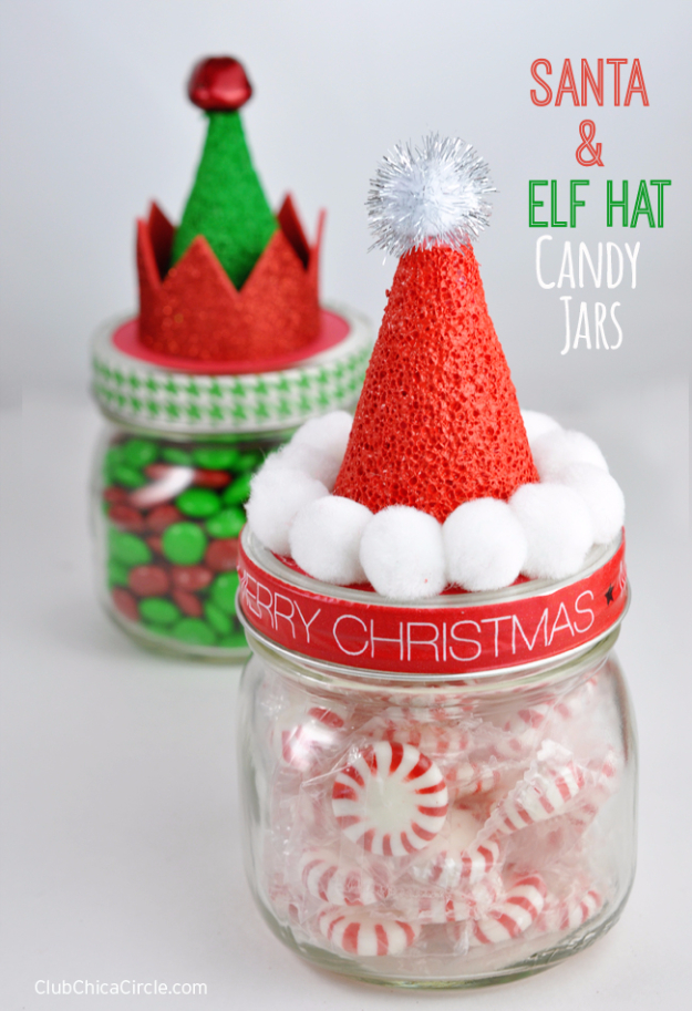 Best DIY Ideas for Wintertime - Santa and Elf Hat Candy Jars - Winter Crafts with Snowflakes, Icicle Art and Projects, Wreaths, Woodland and Winter Wonderland Decor, Mason Jars and Dollar Store Ideas - Easy DIY Ideas to Decorate Home and Room for Winter - Creative Home Decor and Room Decorations for Adults, Teens and Kids #diy #winter #crafts