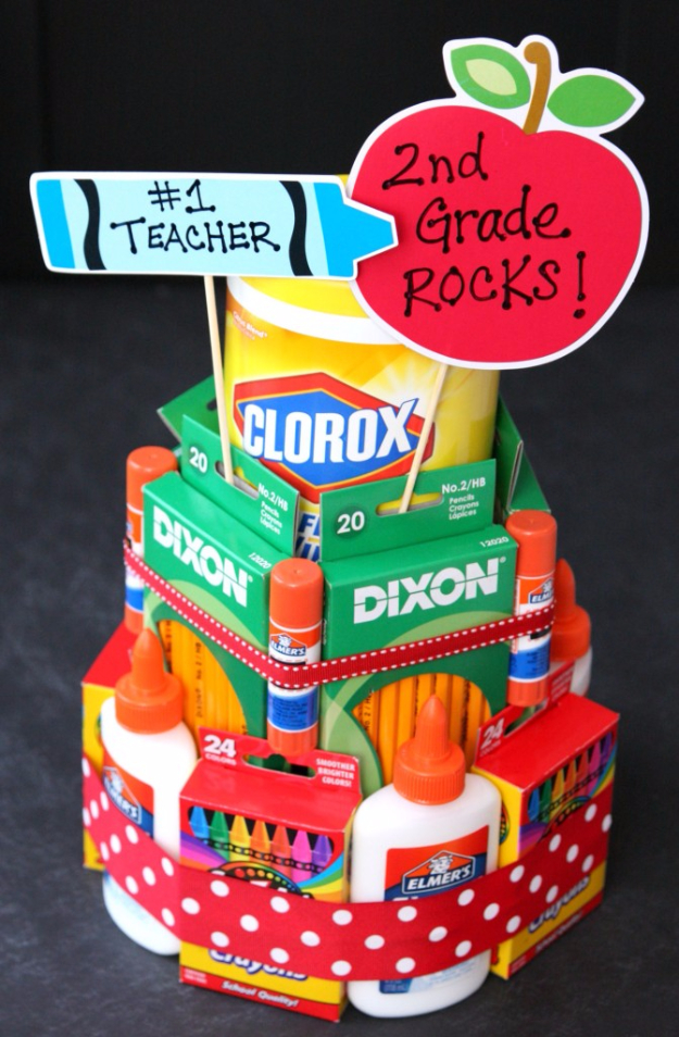 DIY Teacher Gifts - School Supply Cake - Cheap and Easy Presents and DIY Gift Ideas for Teachers at Christmas, End of Year, First Day and Birthday - Teacher Appreciation Gifts and Crafts - Cute Mason Jar Ideas and Thoughtful, Unique Gifts from Kids #diygifts #teachersgifts #diyideas #cheapgifts