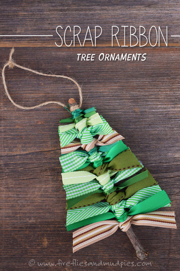 Best DIY Ornaments for Your Tree - Best DIY Ornament Ideas for Your Christmas Tree - Scrap Ribbon Tree Ornaments - Cool Handmade Ornaments, DIY Decorating Ideas and Ornament Tutorials - Creative Ways To Decorate Trees on A Budget - Cheap Rustic Decor, Easy Step by Step Tutorials - Holiday Crafts for Kids #christmas