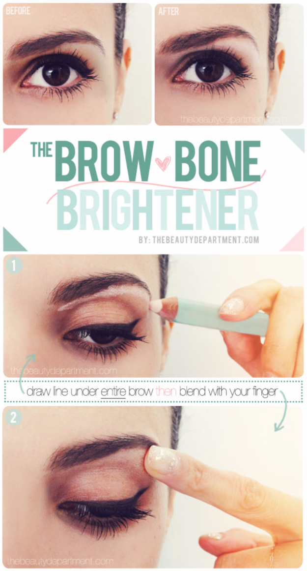 Cool DIY Makeup Hacks for Quick and Easy Beauty Ideas - Secret Eye Lift - How To Fix Broken Makeup, Tips and Tricks for Mascara and Eye Liner, Lipstick and Foundation Tutorials - Fast Do It Yourself Beauty Projects for Women