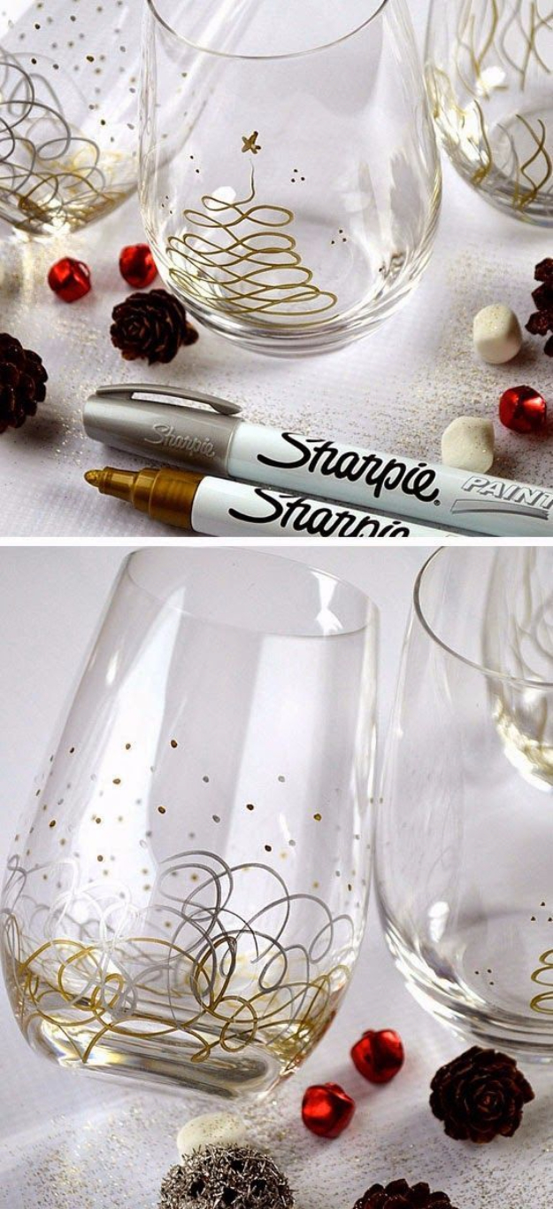 DIY Gift for the Office - Sharpie Paint Pens Glasses - DIY Gift Ideas for Your Boss and Coworkers - Cheap and Quick Presents to Make for Office Parties, Secret Santa Gifts - Cool Mason Jar Ideas, Creative Gift Baskets and Easy Office Christmas Presents