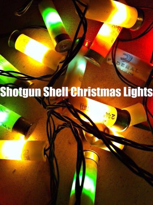 Cool Ways To Use Christmas Lights - Shotgun Shell Christmas Lights - Best Easy DIY Ideas for String Lights for Room Decoration, Home Decor and Creative DIY Bedroom Lighting #diy #christmas #homedecor