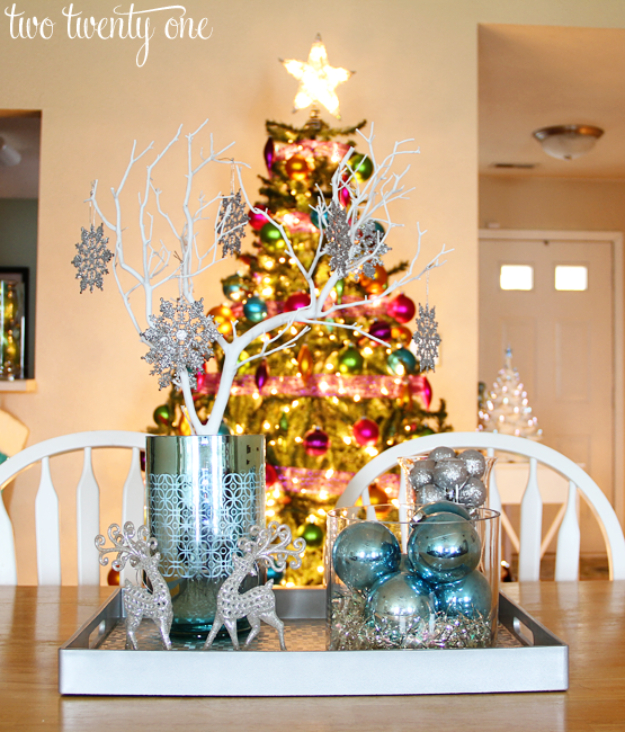 DIY Christmas Centerpieces - Silver And Blue Christmas Centerpiece - Simple, Easy Holiday Decorating Ideas on A Budget- cheap dollar store crafts holiday #holiday #crafts #christmas