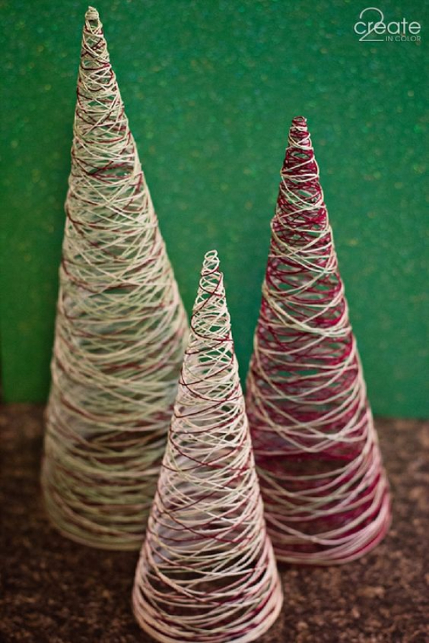 Easy DIY Ideas for Your Christmas Tree - Simple Crafted Thread Trees - Cool Handmade Ornaments, DIY Decorating Ideas and Ornament Tutorials - Cheap Christmas Home Decor - Xmas Crafts #christmas #diy #crafts