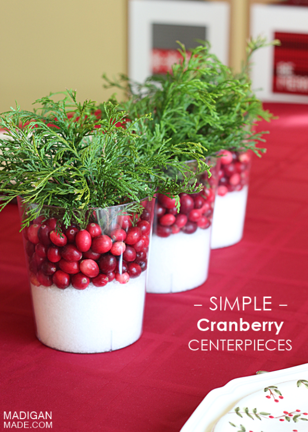 34 creative christmas centerpieces diy joy for Artificial cranberries decoration