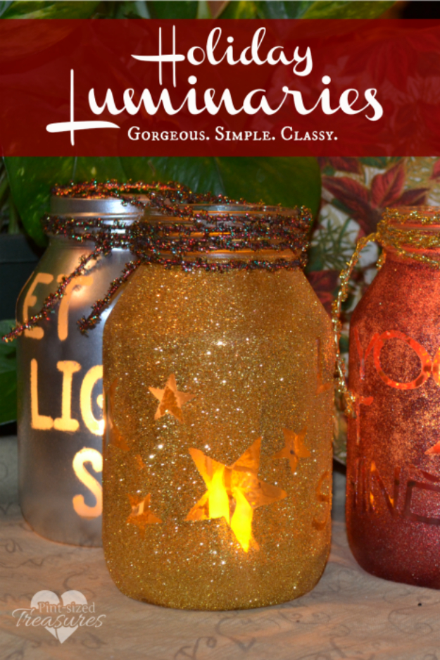 DIY Christmas Luminaries and Home Decor for The Holidays - Simple DIY Holiday Luminaries - Cool Candle Holders, Tea Lights, Holiday Gift Ideas, Christmas Crafts for Kids #diy #luminaries #christmas