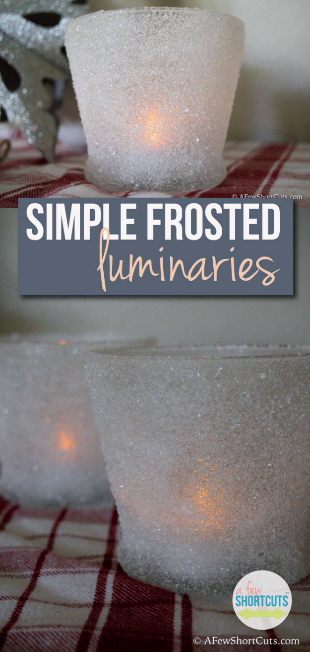 DIY Christmas Luminaries and Home Decor for The Holidays - Simple Frosted Luminaries - Cool Candle Holders, Tea Lights, Holiday Gift Ideas, Christmas Crafts for Kids #diy #luminaries #christmas