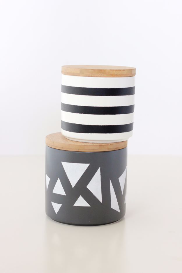 Best DIY Gifts for Neighbors - Simple Geometric Painted Treat Jars - Cute Mason Jar Crafts, Gift Baskets and Cheap and Easy Gift Ideas to Make for Friends - Do It Yourself Projects You Can Sew and Craft That Make Awesome DIY Gifts and Homemade Christmas Presents http://diyjoy.com/diy-gifts-friends-neighbors