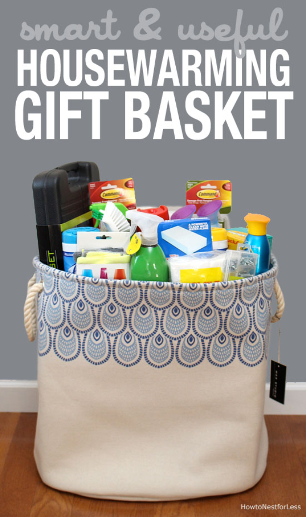 Easy DIY Housewarming Gifts - Useful Housewarming Gift Basket- Best Do It Yourself Gift Ideas for Friends With A New Apartment