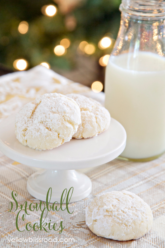 Best Recipes for Christmas Cookies- Snowball Cookies - Easy Decorated Holiday Cookies - Candy Cookie Recipes Ideas for Kids - Traditional Favorites and Gluten Free and Healthy Versions - Quick No Bake Cookies and Last Minute Desserts for the Holidays
