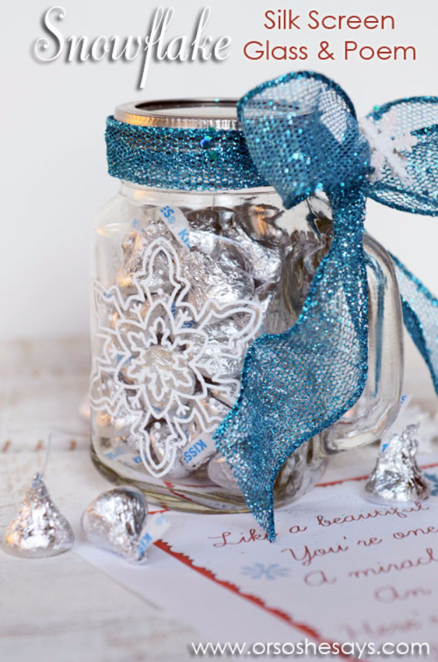 Best DIY Snowflake Decorations, Ornaments and Crafts - Snowflake Silk Screen Glass And Poem - Paper Crafts with Snowflakes, Pipe Cleaner Projects, Mason Jars and Dollar Store Ideas - Easy DIY Ideas to Decorate for Winter#winter #crafts #diy