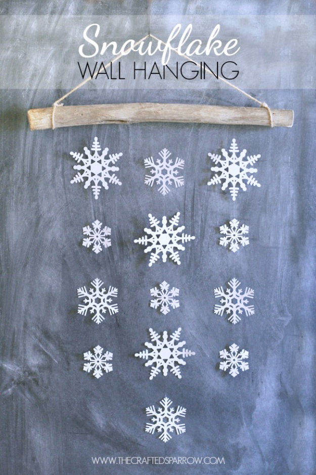 Best DIY Snowflake Decorations, Ornaments and Crafts - Snowflake Wall Hanging - Paper Crafts with Snowflakes, Pipe Cleaner Projects, Mason Jars and Dollar Store Ideas - Easy DIY Ideas to Decorate for Winter#winter #crafts #diy