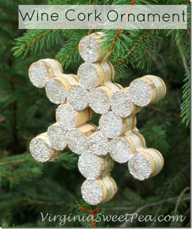 Best DIY Snowflake Decorations, Ornaments and Crafts - Snowflake Wine Cork Ornament - Paper Crafts with Snowflakes, Pipe Cleaner Projects, Mason Jars and Dollar Store Ideas - Easy DIY Ideas to Decorate for Winter#winter #crafts #diy