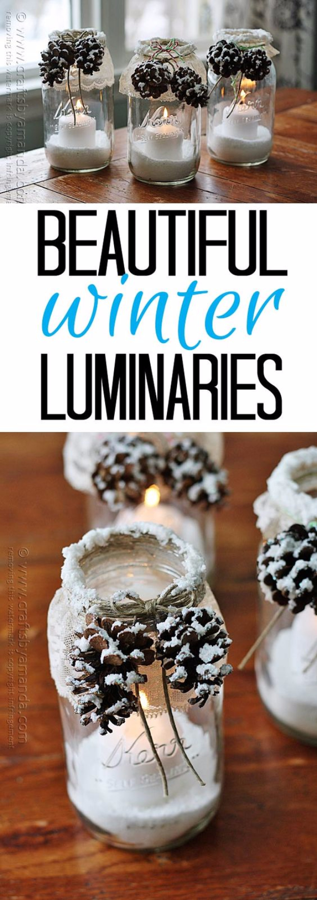 DIY Christmas Luminaries and Home Decor for The Holidays - Snowy Pinecone Candle Jars - Cool Candle Holders, Tea Lights, Holiday Gift Ideas, Christmas Crafts for Kids #diy #luminaries #christmas