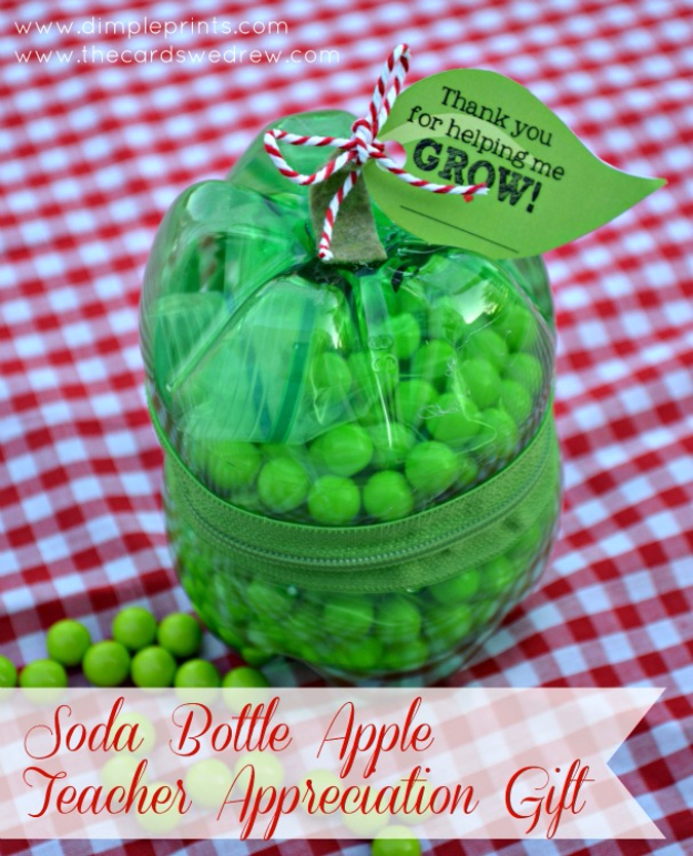 DIY Teacher Gifts - Soda Bottle Apple Teacher Gift - Cheap and Easy Presents and DIY Gift Ideas for Teachers at Christmas, End of Year, First Day and Birthday - Teacher Appreciation Gifts and Crafts - Cute Mason Jar Ideas and Thoughtful, Unique Gifts from Kids #diygifts #teachersgifts #diyideas #cheapgifts