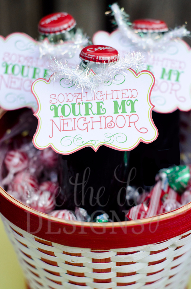 DIY Gifts for Friends - Christmas Gift Idea for Neighbor - - Soda-Lighted You're My Neighbor Gift Basket - Cute Mason Jar Crafts, Gift Baskets and Cheap and Easy Gift Ideas to Make for Friends - Do It Yourself Projects You Can Sew and Craft That Make Awesome DIY Gifts and Homemade Christmas Presents #diygifts #christmasgifts #xmasgifts
