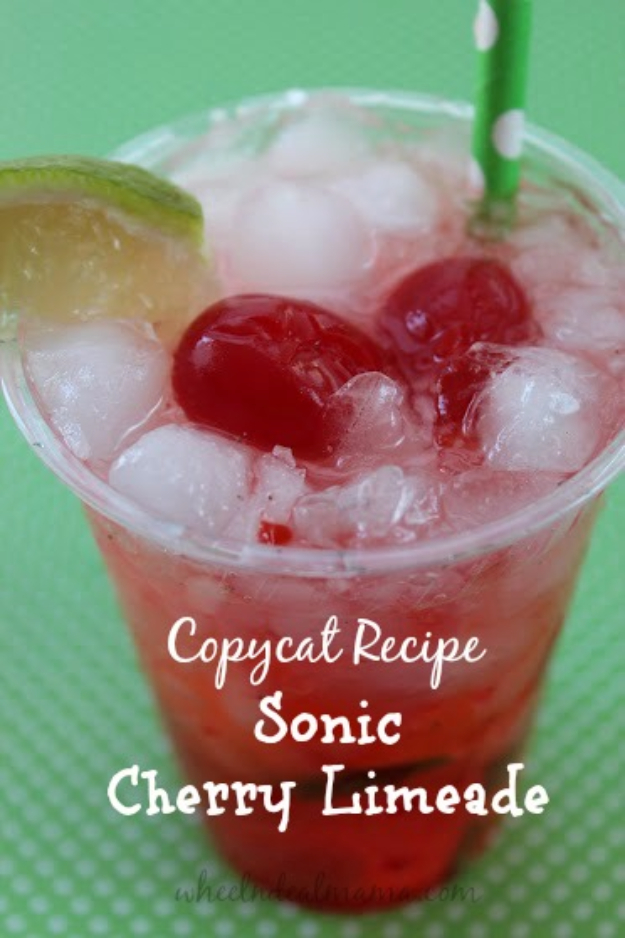 Best Copycat Recipes From Top Restaurants - Sonic Cherry Limeade Copycat Recipe - Awesome Recipe Knockoffs and Recipe Ideas from Chipotle Restaurant, Starbucks, Olive Garden, Cinabbon, Cracker Barrel, Taco Bell, Cheesecake Factory, KFC, Mc Donalds, Red Lobster, Panda Express #recipes #copycat #dinnerideas