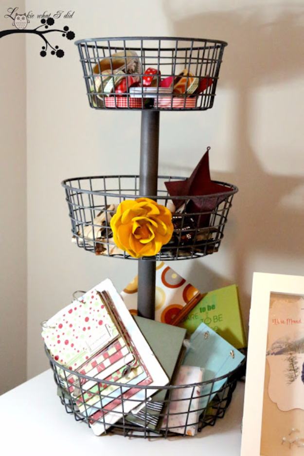 Creative Crafts Made With Baskets - Stacked Wire Baskets - DIY Storage and Organizing Ideas, Gift Basket Ideas, Best DIY Christmas Presents and Holiday Gifts, Room and Home Decor with Step by Step Tutorials - Easy DIY Ideas and Dollar Store Crafts #crafts #diy